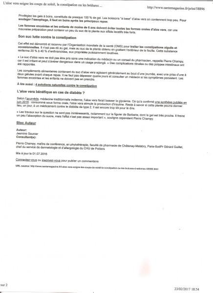 presse aloe vera santé magazine constipation brulure page 2