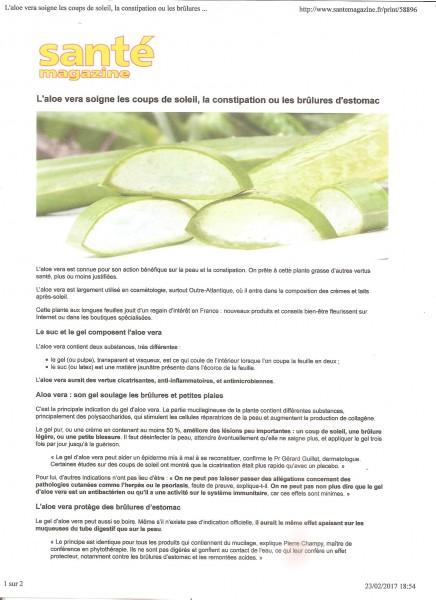 presse aloe vera santé magazine constipation brulure page 1
